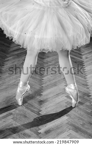 Young female ballerina standing on toes, low section, wooden floor. - stock photo