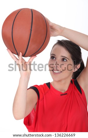 Young female basketball player - stock photo