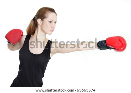 young female boxer over white
