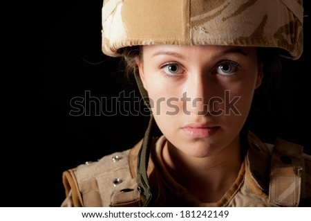 Young Female British Soldier - stock photo