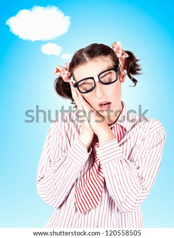 Young Female Business Person In A State Of Relax While In A Copyspace Advertising Cloud Dream - stock photo