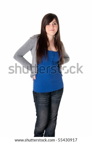 Young female cheerful with arms crossed isolated on white background. - stock photo