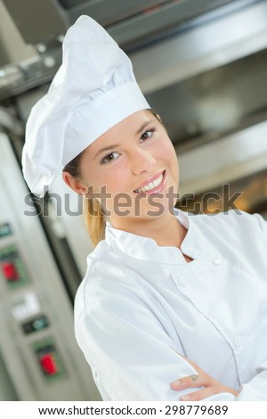 Young female chef - stock photo