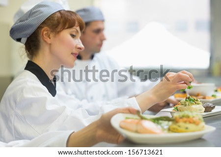 Young female chef preparing a plate in a professional kitchen - stock photo