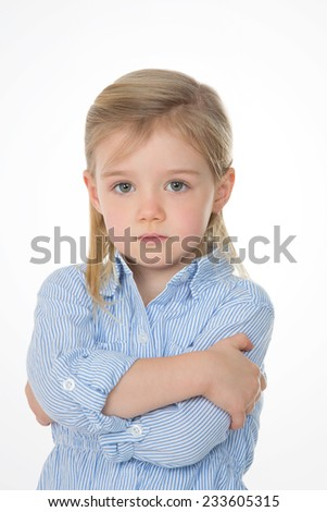 young female child worried about something