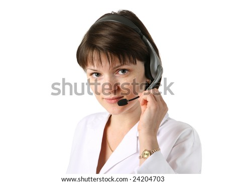 Young female clinic receptionist wearing headset. Isolated over white background. - stock photo
