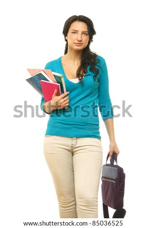 Young female college student isolated on white. - stock photo