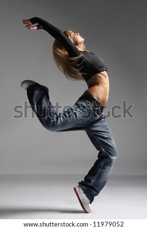 young female dancing jazz modern dance - stock photo