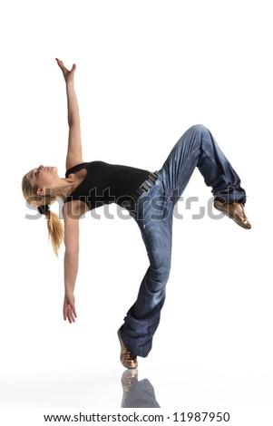 young female dancing jazz modern dance - stock photo