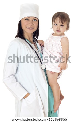 Young female Doctor checking baby with stethoscope on white background. - stock photo