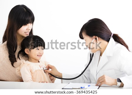 young female doctor examining a child patient - stock photo