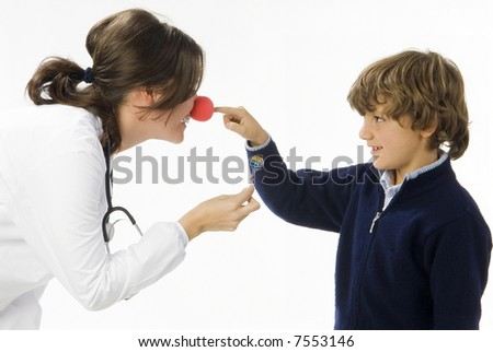 young female doctor having a sweet approach with a little boy