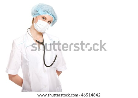 Young female doctor on white background