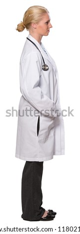 Young female doctor smiling right profile casual - white background - stock photo