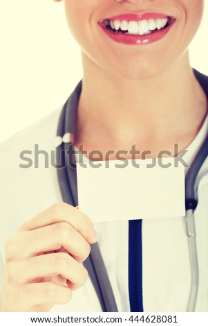 Young female doctor with copy space. - stock photo