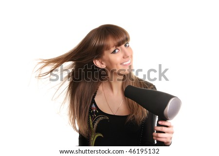 young female drying hair - stock photo