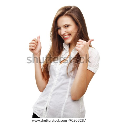 Young female  express happiness with thumb up sign. Isolated on white - stock photo