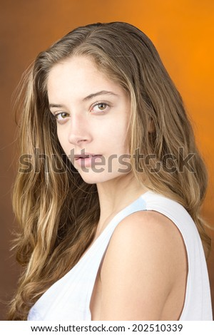 young female fashion model blond long hair white top  - stock photo