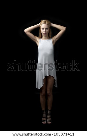 young female fashion model posing,18 years old. - stock photo