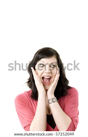 Young female freaking out with her hands in her face - shouting, staring to the left