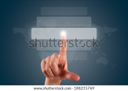 Young female hand finger touching, pressing or choosing button list on digital screen on dark background with copy space area. - stock photo