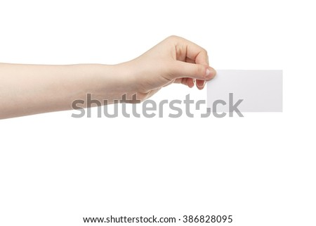 young female hand hold blank white paper card, isolated on white