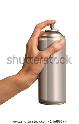 young female hand spraying an aerosol can - stock photo