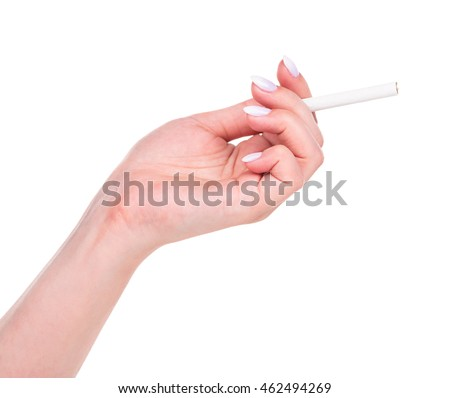 Young female hand with cigarette isolated over white background cutout