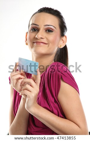 young female is showing blue blank credit card