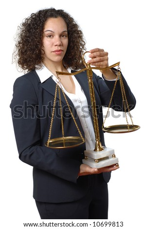 Young female lawyer holding the universal sign of justice and equality - stock photo