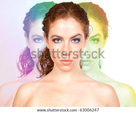 young female looking into cam with photoshop effects - stock photo