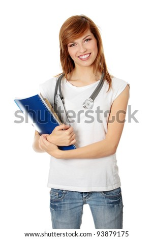 Young female medicine student, isolated on white - stock photo