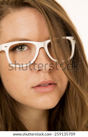 Young female model portrait wearing white glasses
