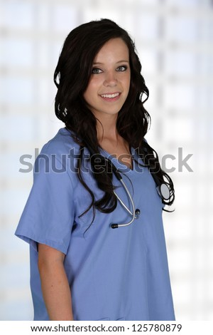 Young female nurse working in a hospital - stock photo