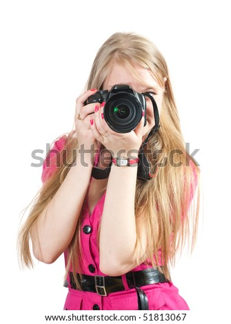 Young female photographer, isolated over white background - stock photo
