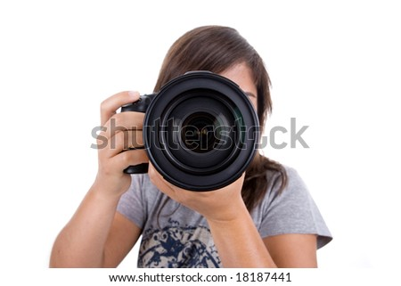 young female photographer with digital slr isolated on white background - stock photo