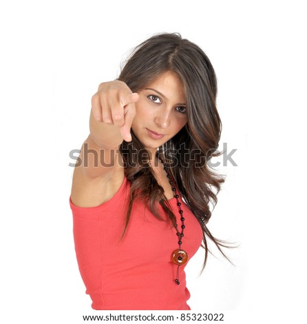 Young female pointing at you - stock photo