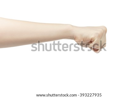 young female right hand shows fist, isolated on white background