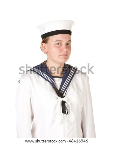 young female sailor isolated on white - stock photo