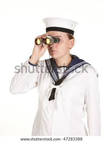 young female sailor with binoculars isolated on white - stock photo