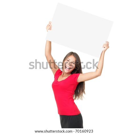 Young female showing blank sign card cheerful and happy smiling - copy space for text. Beautiful smiling young woman model isolated on white background. - stock photo