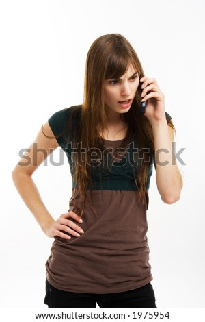 Young female showing different poses and attitude with her cellphone