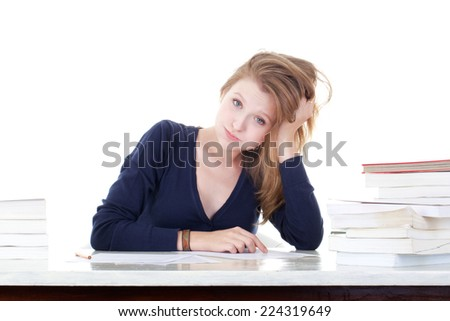 young female student shot in white background - stock photo