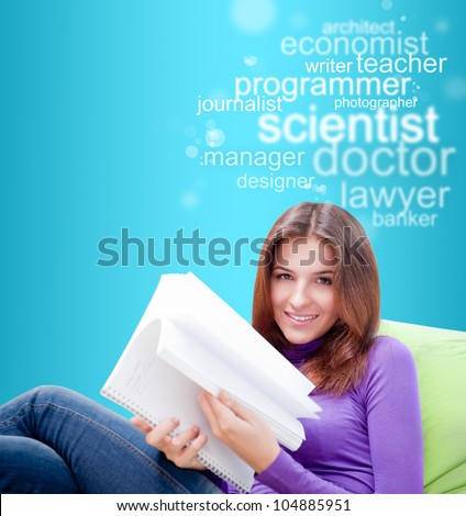 Young female student studying and thinking about future profession