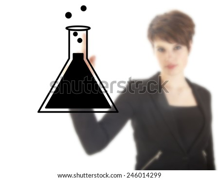 Young female student with science tube isolated on white background - stock photo