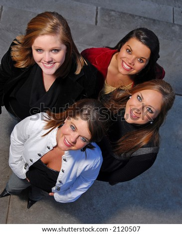 Young female students from above - stock photo