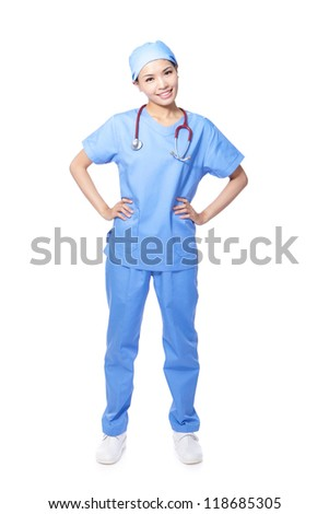 Young female surgeon doctor or nurse full length portrait isolated on white background, model is a asian woman - stock photo