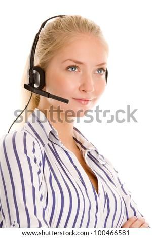 Young female telephone operator - stock photo