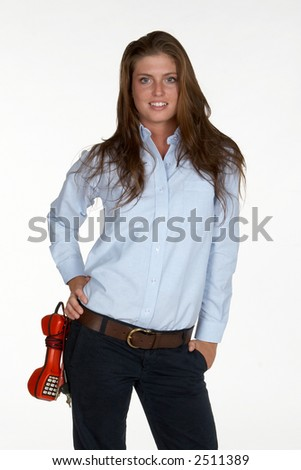Young Female Telephone Technician with Butt Set on Hip - stock photo