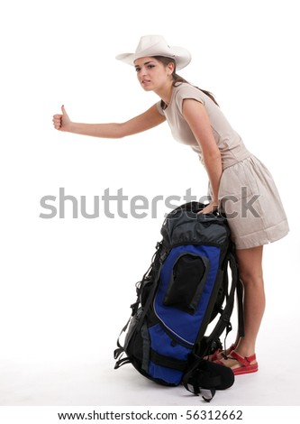 young female tourist with backpack stopping car